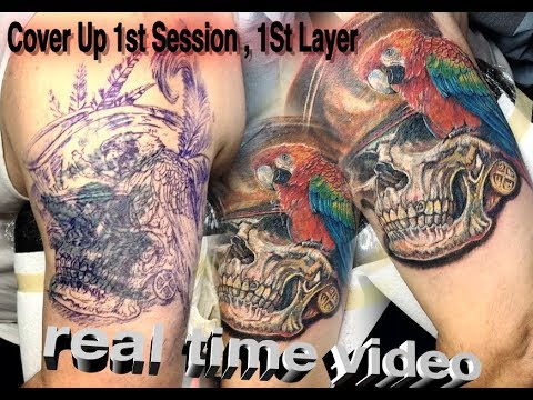 Cover up tattoo  real time , in progress  ,skull tattoo ,  color tattoo how to with Cris Gherman