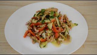 Очень вкусный Теплый мясной салат с овощами