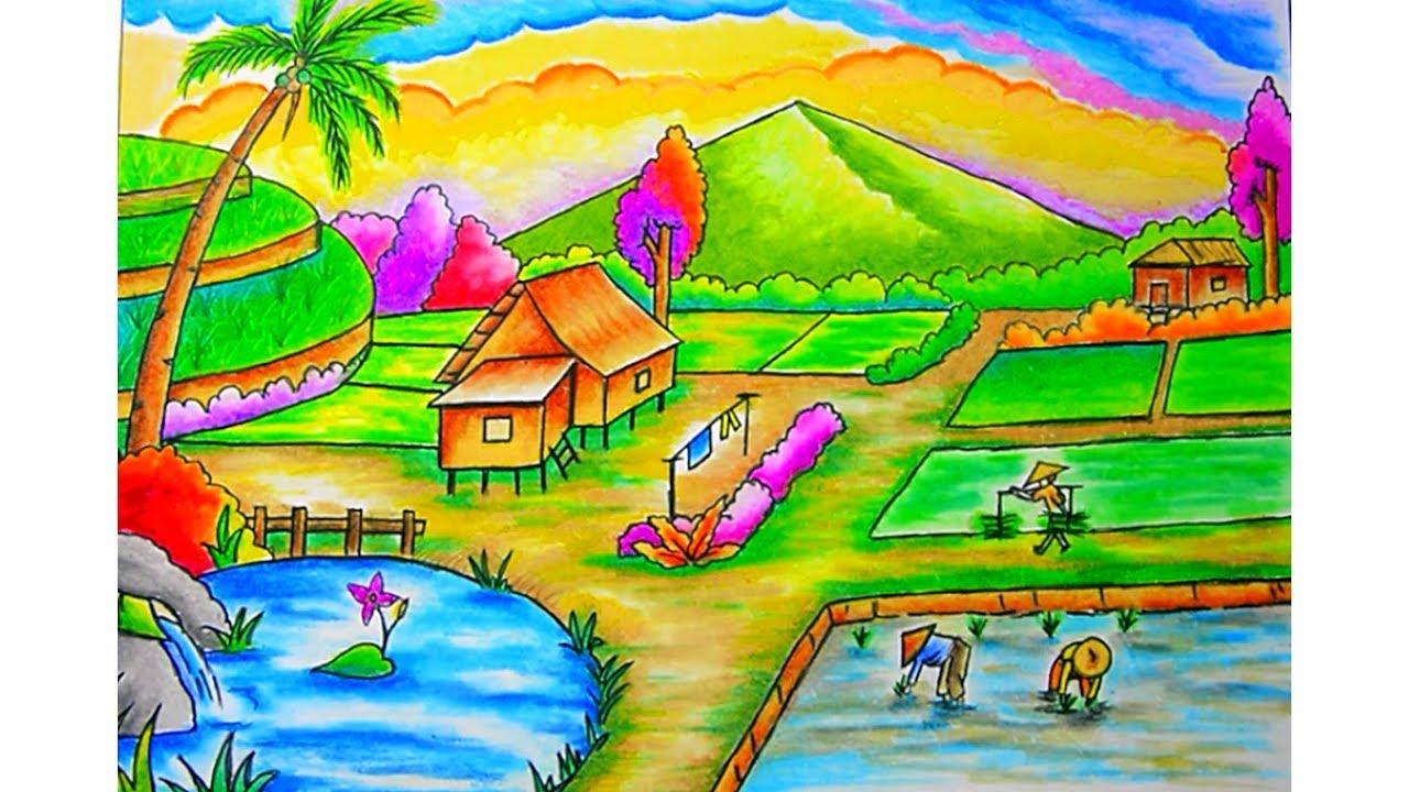 Cara Menggambar Pemandangan Gunung Dan Sawah Drawing Scenery Dengan Gradasi Warna Oil Pastel