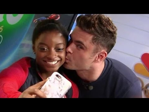 See Simone Biles get a kiss from celebrity crush