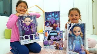 Masal and Öykü play with surprise Frozen 2 toys - funny kids