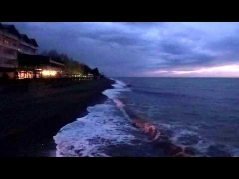 Пробую снимать шум моря ночью... Лазаревское, пляж в январе 2017