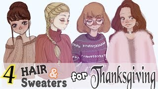 How To Draw 4 THANKSGIVING Hair & Sweaters
