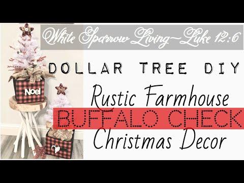 DIY DOLLAR TREE RUSTIC FARMHOUSE BUFFALO CHECK CHRISTMAS TREES