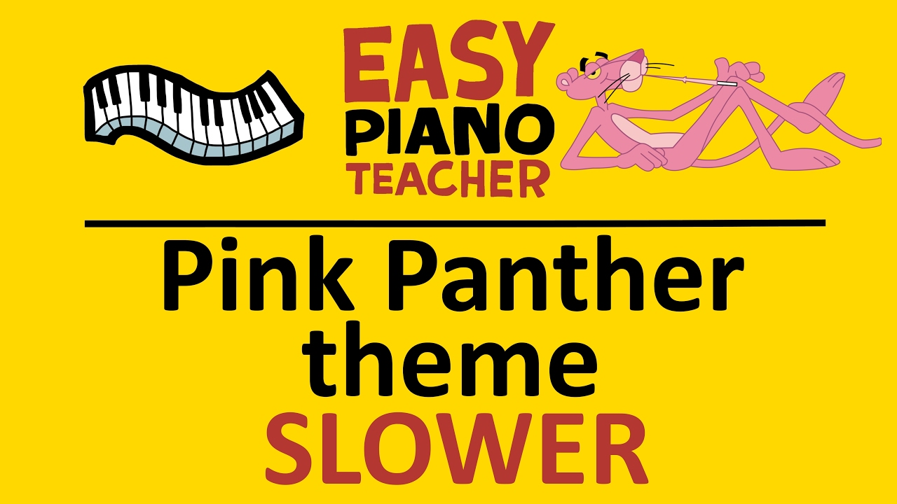 EASY piano songs: How to play Pink Panther theme (Henry Mancini) SLOW  keyboard tutorial note-by-note