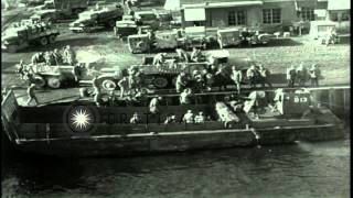 United States Marines load a Landing Craft Mechanized in Hungnam. HD Stock Footage