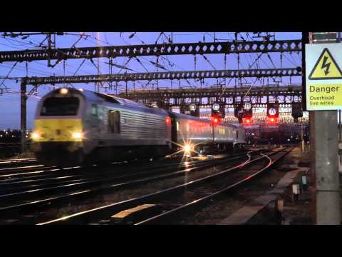 (HD) 67012 & 67027 1Q36 Carlisle High Wapping to Derby RTC at Leeds 26/01/2015