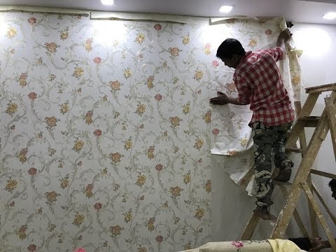 How to Wallpaper pasting in Living Room | Wallpaper ideas for Dining/ Living 2019