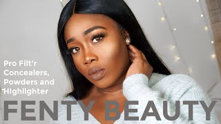 NEW FENTY BEAUTY Concealers, Powders and Highlighter Review on DARK SKIN