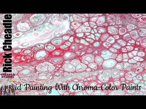 Partial Flip and Drag Fluid Painting Experiment. Silicone, Dimethicone  Chroma Color Paints