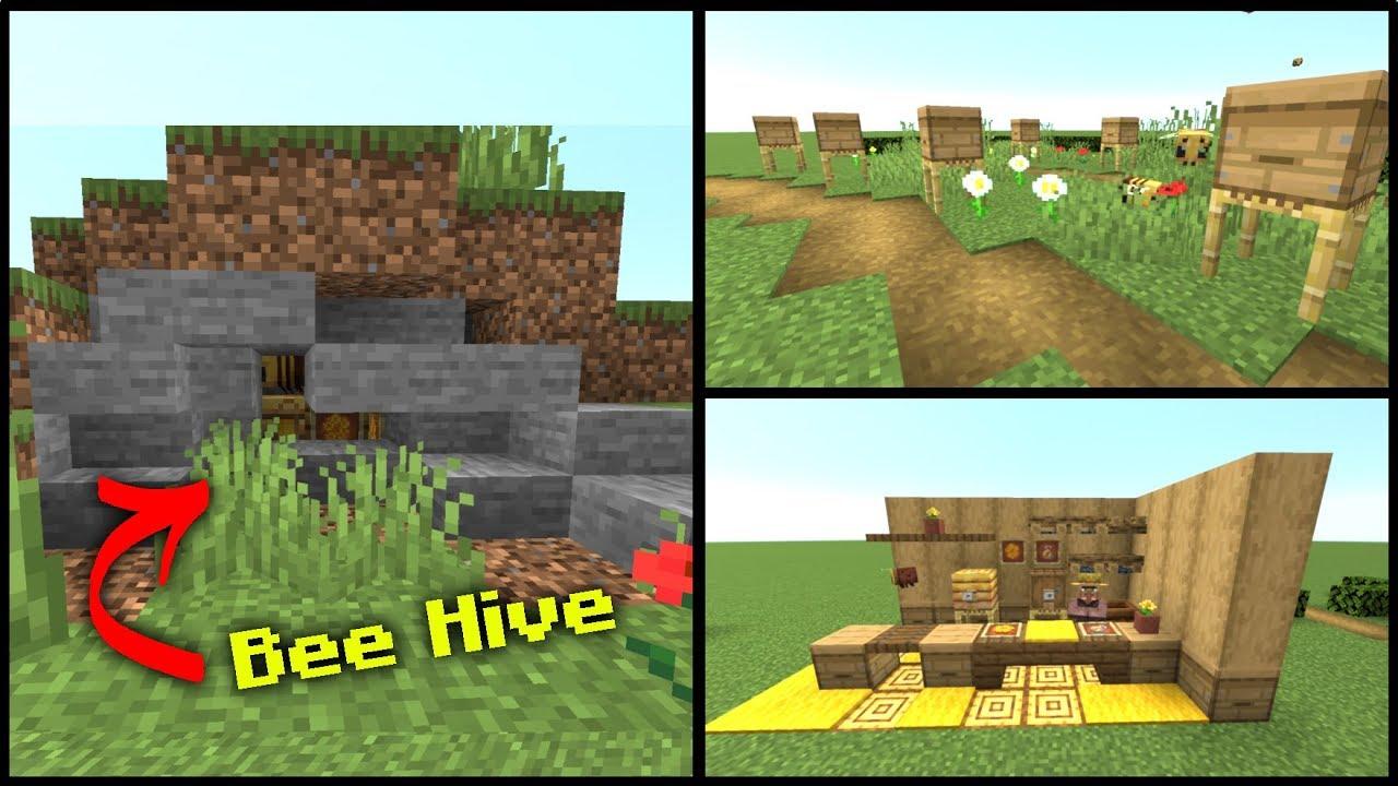 10  Minecraft Bee Hive Bee Nest Build Hacks in 1 15 YouTube