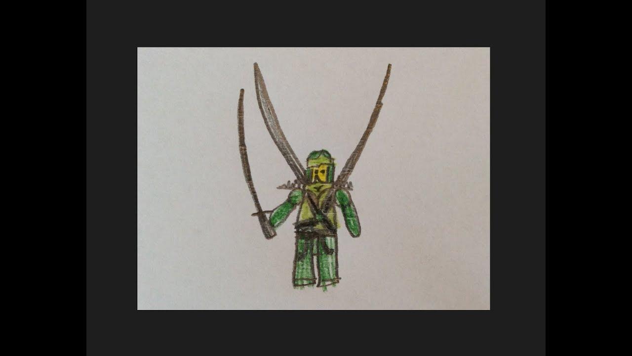 Wie man den grünen Ninja Lloyd von Lego Ninjago zeichnet ...