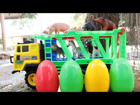 รถบรรทุกขน ไข่เซอร์ไพรส์ของเล่นสัตว์ Surprise Eggs Farm Animals Toys