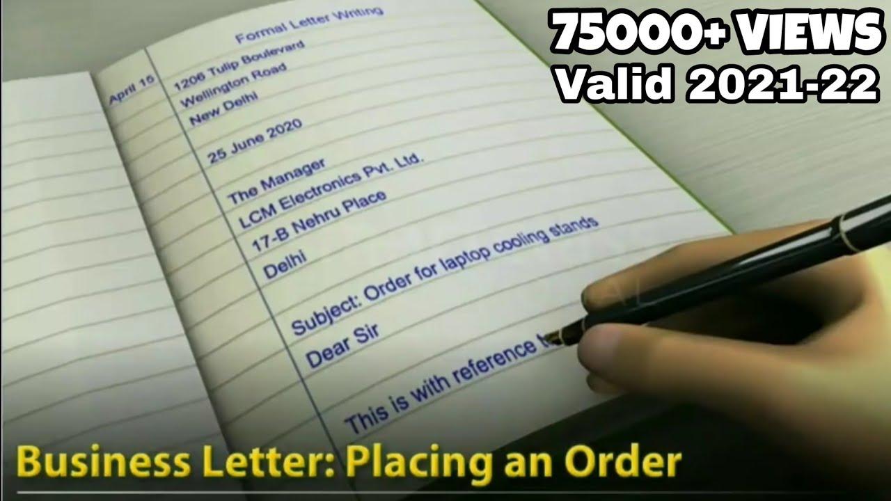 Business Letter Format 2020.Formal Business Letter Placing An Order Comprehensive English Grammar Writing Skills