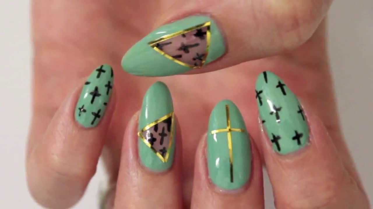 ✞ Mint Cut Out Nail Design ✞ - YouTube