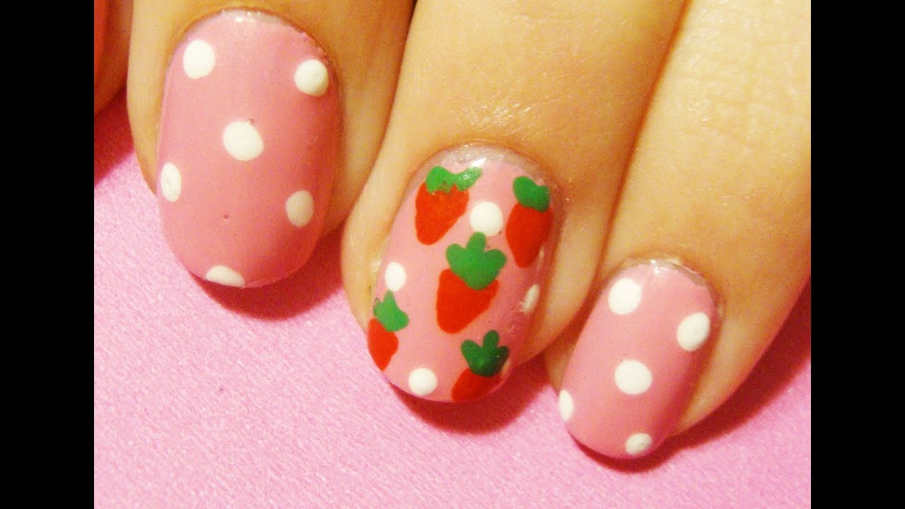 Strawberry Shortcake Inspired Nail Art