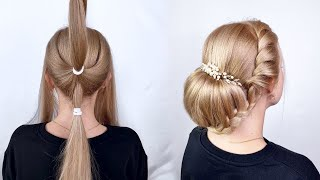 Легкая прическа на длинные волосы Простые прически пошагово Пучок