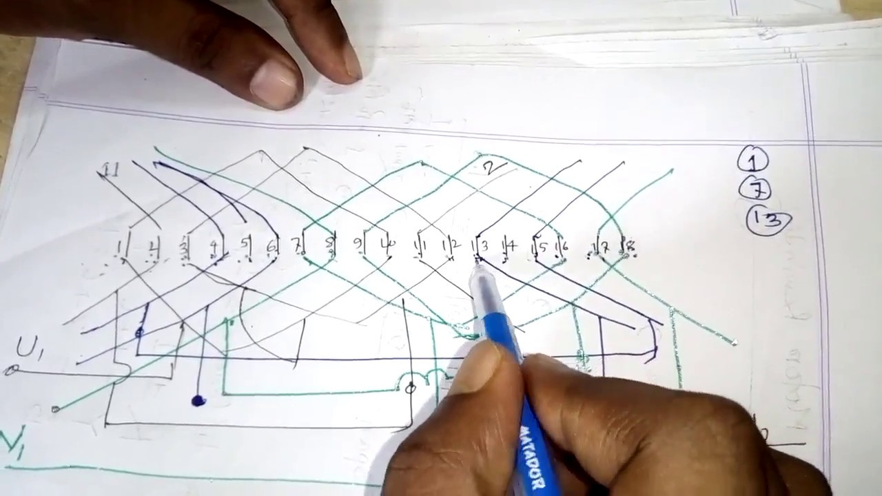 How To Make Diagram Of 18 Slot Three Phase Motor 2 Pole Basket Rewinding
