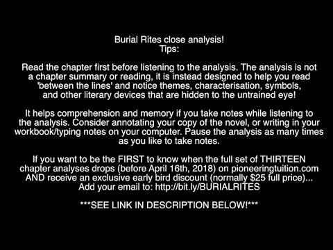 Burial Rites Chapter 1 Analysis Youtube
