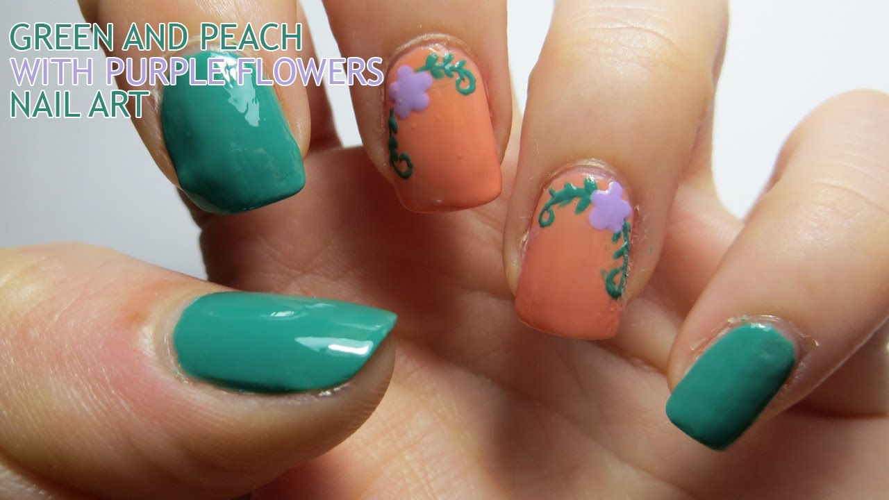 Green And Peach Nail Art With Purple Flowers Youtube