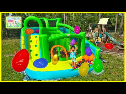 Huge Surprise Eggs Hunt on Giant Inflatable Water Slide & Golden Egg Surprise Toys Like Frozen Elsa