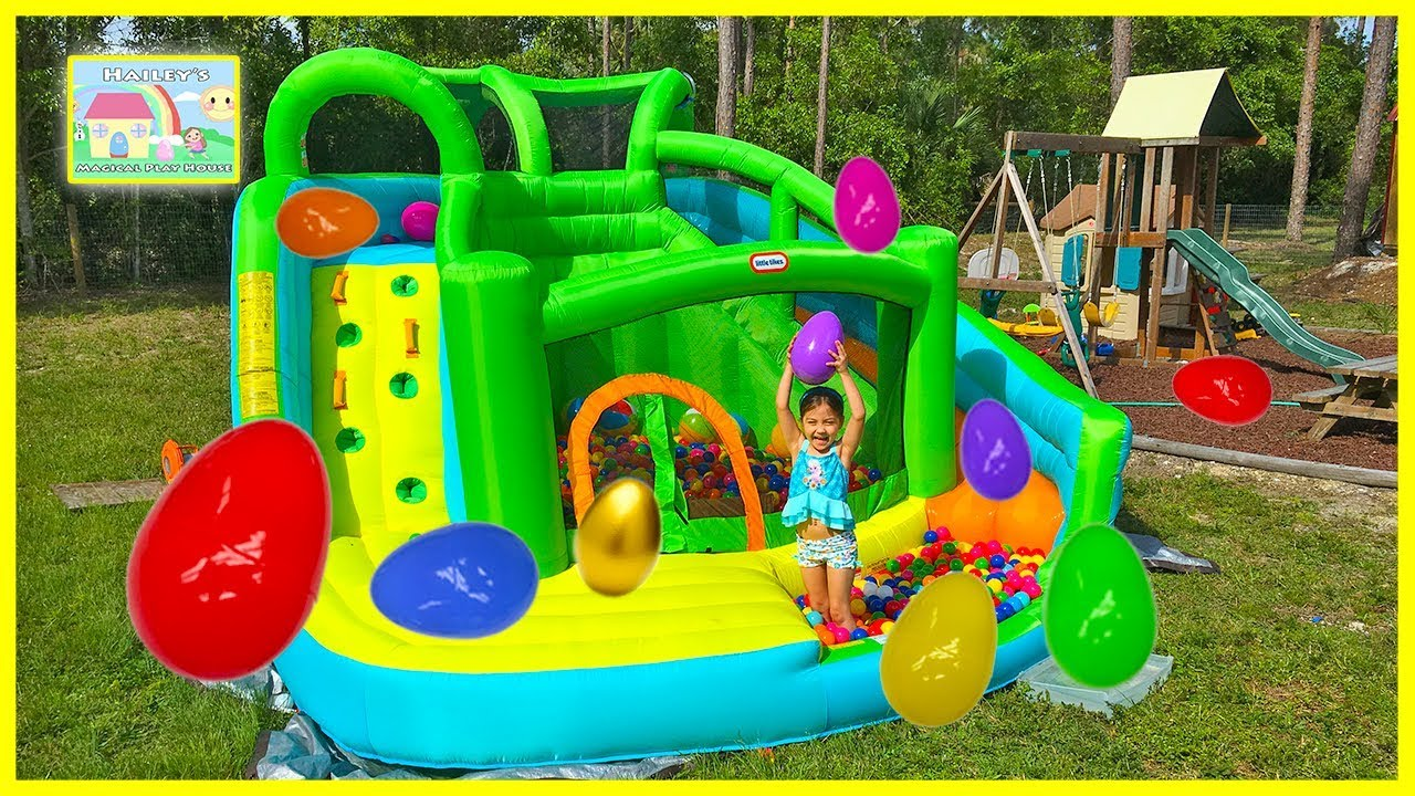 Huge Surprise Eggs Hunt On Giant Inflatable Water Slide U0026 Golden Egg  Surprise Toys Like Frozen Elsa   YouTube