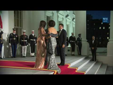 President Obama and the First Lady Welcome Prime Minister Renzi and Mrs. Landini of Italy
