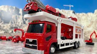 トミカの消防車!はたらくくるまのおもちゃ!ポンプ車、はしご車、消防ショベルカー、キャリアカーなど♪ブーブー