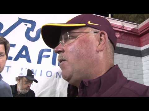 Gophers Jerry Kill reacts to 3027 3OT win over UNLV