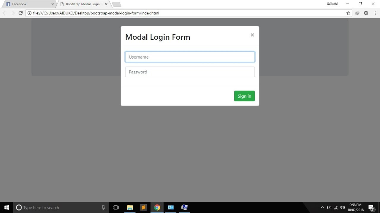 Bootstrap Modal Login Form (POPUP WINDOW)