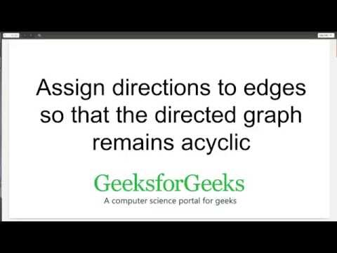 Assign directions to edges so that the directed graph remains acyclic | GeeksforGeeks