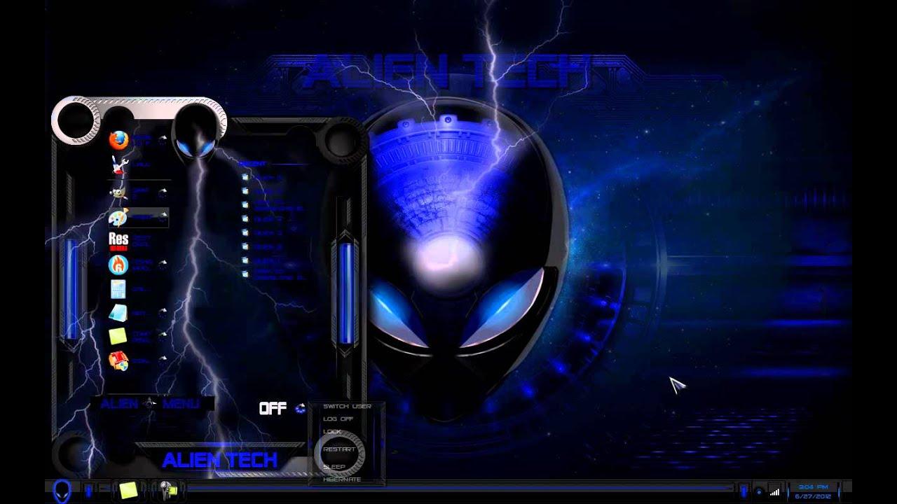 windows 7 theme blue glass alien, tema alien azul - YouTube