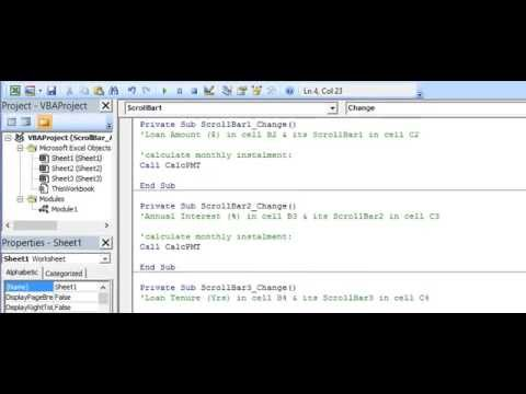 ActiveX Scroll Bar Event Procedure in Excel VBA - YouTube
