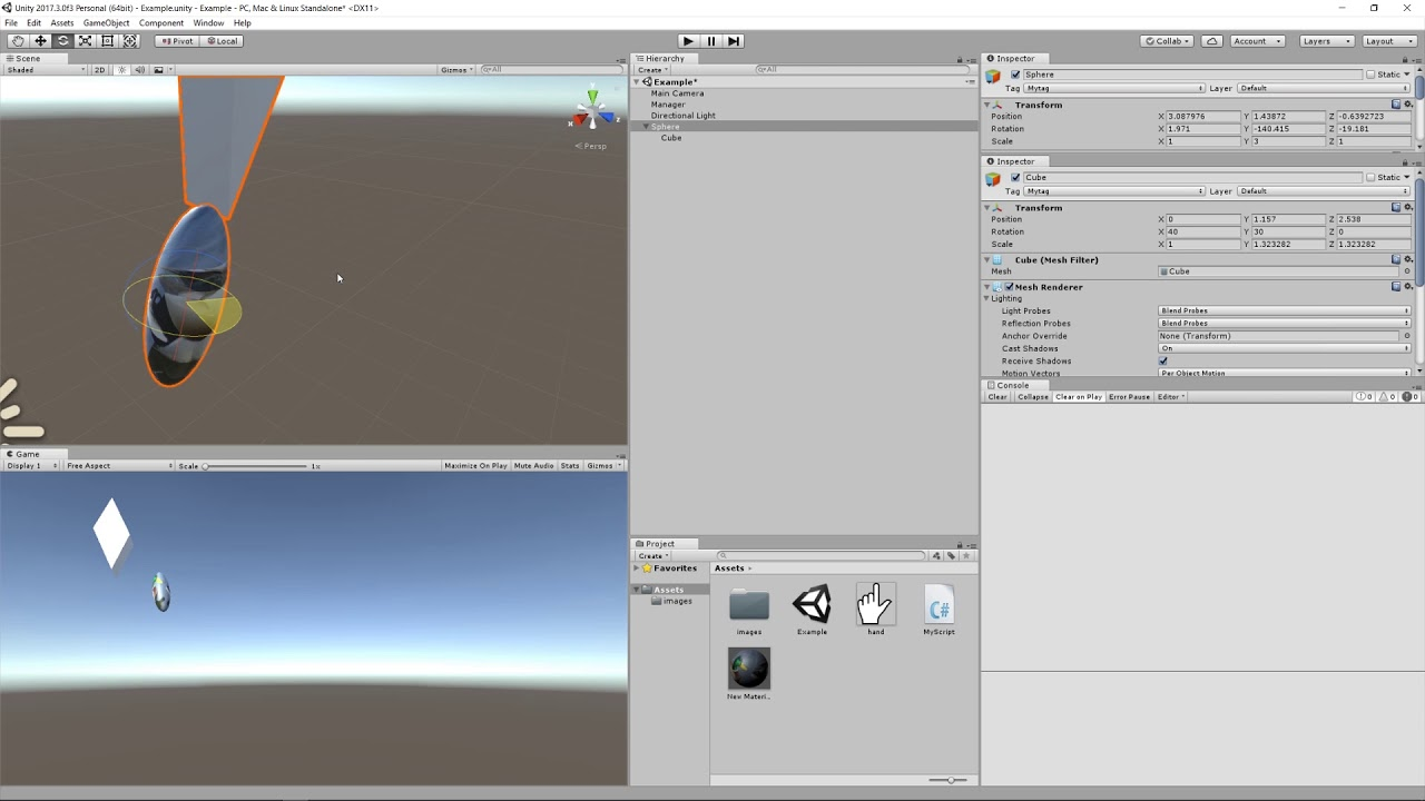 Unity - lesson 7 - parents and child objects