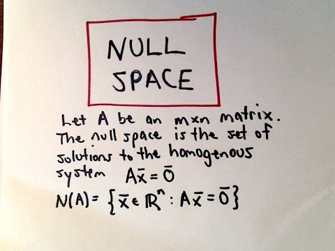 Null Space Of A Vector Space