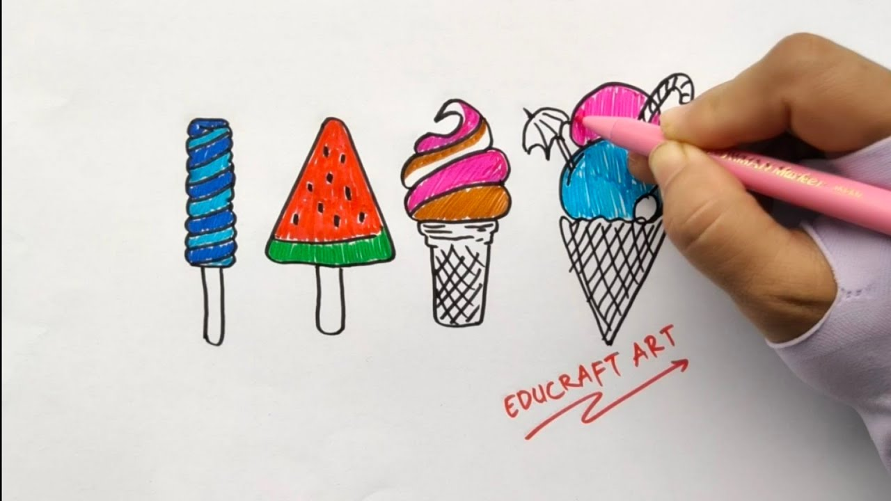 How to draw and coloring sweet ice cream step by step ...