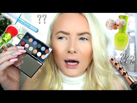 TESTING OUT WEIRD BEAUTY PRODUCTS 2017! (world's smallest eyeshadow palette)