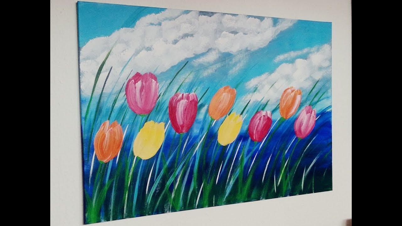Tulpen Malen Acryl Tulip Acrylic Painting Fur Anfanger
