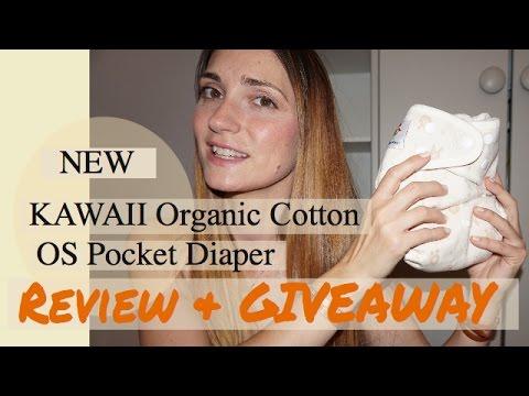 NEW Kawaii Organic Cotton OS Pocket Diaper Review & GIVEAWAY Bundle {Closed}