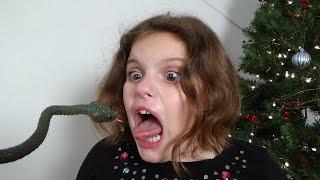 """Snakes In Christmas Tree """"Rattlesnake & Green Snake Attack Girl"""" Toy Freaks"""