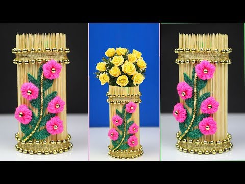 How to make a flower vase with chopsticks and plastic bottle - Best out of waste easy - DIY Projects
