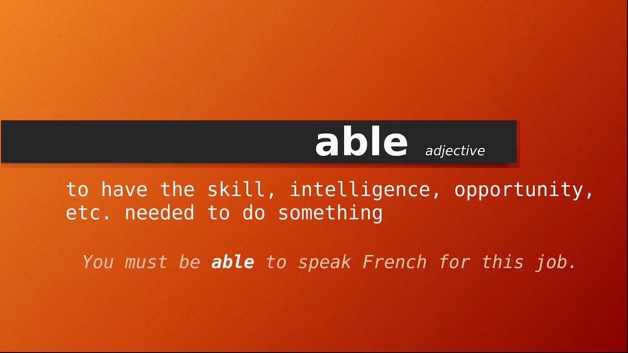 Meaning of able  Definition of able - YouTube