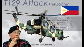 Personnel from Philippine Air Force PAF  team checks Turkish T129 ATAK helicopter