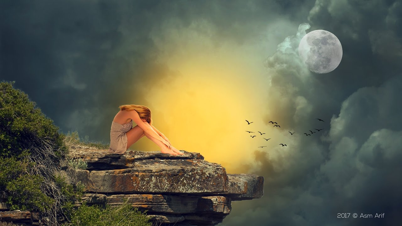 photoshop cc tutorial: sad girl hd wallpaper | (manipulation) - youtube