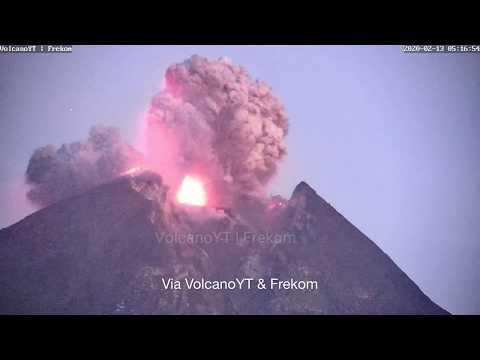 February 13, 2020, ~ Mount Merapi, Indonesia ~ Eruption ~ Via VolcanoYT/Frekom