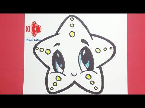 تعلم رسم نجم البحر خطوة بخطوة تعليم الرسم للمبتدئين How To Draw A Cute Starfish Easy Youtube