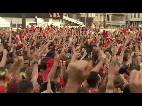 Belgium fans celebrate going 1-nil up against Brazil
