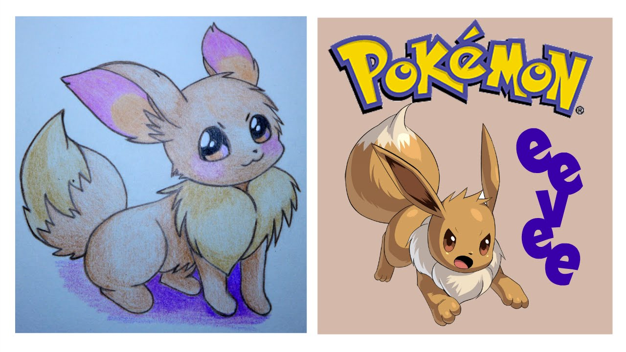 Easy Drawing Pokemon Eevee Faber Castell Colored Pencils Youtube