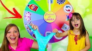 Mystery Wheel of Slime Switch Up Challenge - ROLETA MISTERIOSA DE SLIME com CLUBINHO DA LAURA
