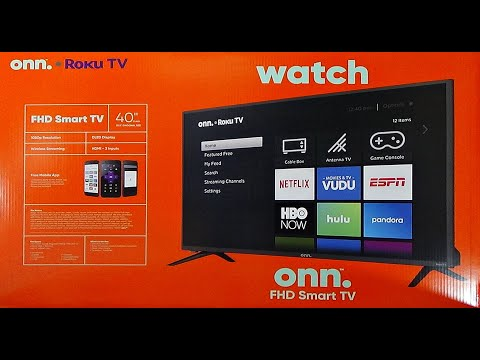 "onn. TV Unboxing 40"" Class FHD (1080P) Roku Smart LED 3 HDMI inputs Full HD 500,000+ movies and TV"